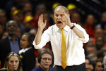 Michigan head coach John Beilein directs his players in the first half of an NCAA college basketball game against Maryland, Sunday, March 3, 2019, in College Park, Md. (AP Photo/Patrick Semansky)