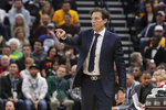Utah Jazz head coach Quin Snyder directs his teams play against the San Antonio Spurs during the second quarter of an NBA basketball game, Saturday, Feb. 9, 2019, in Salt Lake City. (AP Photo/Chris Nicoll)