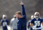 Los Angeles Rams head coach Sean McVay oversees practice for the NFL Super Bowl 53 football game against the New England Patriots, Friday, Feb. 1, 2019, in Flowery Branch, Ga. (AP Photo/John Bazemore)