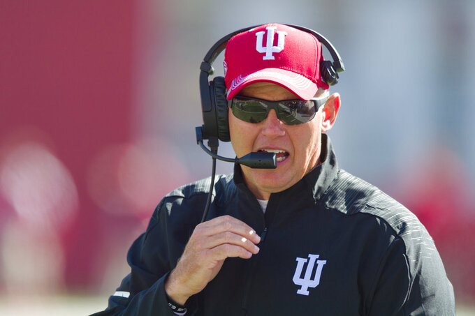 File- This Oct. 13, 2018, file photo shows Indiana head coach Tom Allen on the sideline during the second half of an NCAA college football game against Iowa in Bloomington, Ind. Allen and Purdue coach Jeff Brohm understand the short-term stakes of Saturday's Old Oaken Bucket game. The winner plays another game this season while the loser heads home to start offseason work,  just like last year. Just like it seems every year. (AP Photo/Doug McSchooler, File)