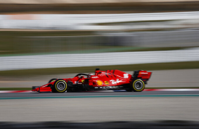 Ferrari driver Charles Leclerc of Monaco steers his car during the Formula One pre-season testing session at the Barcelona Catalunya racetrack in Montmelo, outside Barcelona, Spain, Friday, Feb. 28, 2020. (AP Photo/Joan Monfort)