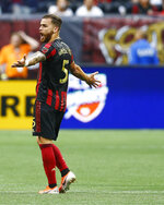 Atlanta United's Gonzalez Perez reacts during the first half of the team's MLS soccer match against Toronto FC in Atlanta on Wednesday, May 8, 2019. (AP Photo/Mike Zarrilli)