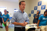 Democratic House candidate Dan McCready talks to volunteers at his campaign office in Waxhaw, N.C., outside Charlotte, Saturday, Sept. 7, 2019. McCready faces Republican Dan Bishop in a special election for a vacant house seat Tuesday. National Democratic and Republican leaders are breathlessly watching Tuesday's special election for an empty House seat from North Carolina for early clues about next year's presidential and congressional races. But for the two candidates, the race is less glamour than grind.(AP Photo/Alan Fram)