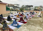 Bangladeshi Muslims offer Eid al-Fitr prayers in Dhaka, Monday, May 25, 2020. The holiday of Eid al-Fitr, the end of the fasting month of Ramadan, a usually joyous three-day celebration has been significantly toned down as coronavirus cases soar. (AP Photo/Al-emrun Garjon)
