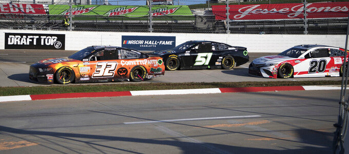 during a NASCAR Cup Series auto race at the Martinsville Speedway in Martinsville, Va., Sunday, Nov.1, 2020. (AP Photo/Lee Luther Jr.)