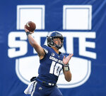 Utah State quarterback Jordan Love throws a pass against against San Jose State during an NCAA football game Saturday, Nov. 10, 2018, in Logan, Utah. (Eli Lucero/The Herald Journal via AP)