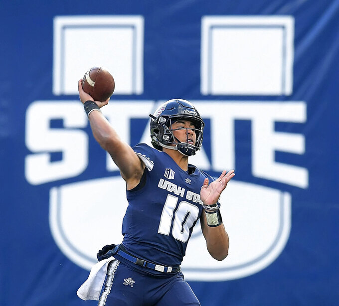 Utah State quarterback Jordan Love throws a pass against against San Jose State during an NCAA football game Saturday, Nov. 10, 2018, in Logan, Utah. (Eli Lucero/The Herald Journal via AP)