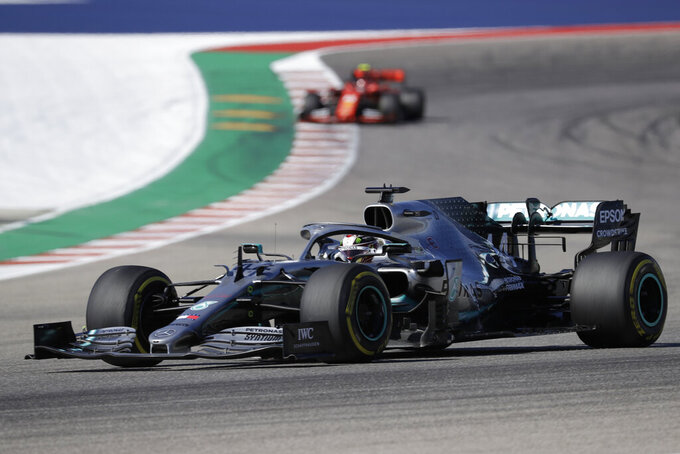 Mercedes driver Lewis Hamilton, of Britain, races during the Formula One U.S. Grand Prix auto race at the Circuit of the Americas, Sunday, Nov. 3, 2019, in Austin, Texas. (AP Photo/Chuck Burton)