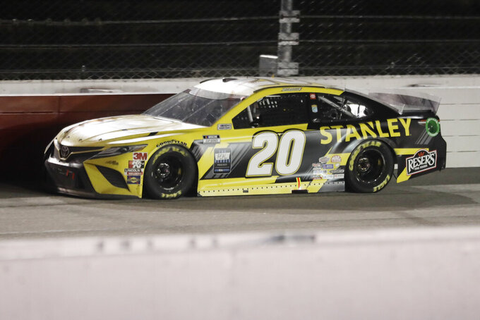 Erik Jones (20) drives during the NASCAR Cup Series auto race Wednesday, May 20, 2020, in Darlington, S.C. (AP Photo/Brynn Anderson)