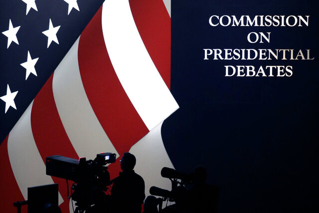FILE - The set is shown during a presidential debate at UNLV on Oct. 19, 2016, in Las Vegas. C-SPAN said in a statement Friday, Oct. 9, 2020, that its political editor, Steve Scully, host of the second presidential debate, didn't initiate a questionable Twitter exchange with Anthony Scaramucci and that the Commission on Presidential Debates is investigating with help from authorities.  (AP Photo/Julio Cortez, FILE)