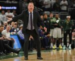 Milwaukee Bucks head coach Mike Budenholzer reacts to a call during the second half of Game 2 of a second round NBA basketball playoff series against the Boston Celtics Tuesday, April 30, 2019, in Milwaukee. The Bucks won 123-102 to tie the series at 1-1. (AP Photo/Morry Gash)