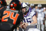 TCU quarterback Max Duggan (15) carries for a touchdown in the first half of an NCAA college football game against Oklahoma State in Stillwater, Okla., Saturday, Nov. 2, 2019. (AP Photo/Sue Ogrocki)