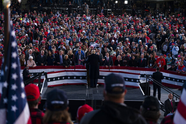 President Donald Trump speaks during a campaign rally at Bemidji Regional Airport, Friday, Sept. 18, 2020, in Bemidji, Minn. (AP Photo/Evan Vucci)
