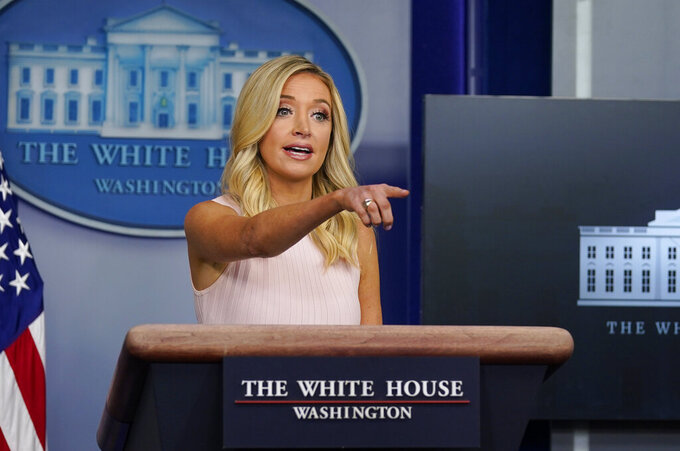 White House press secretary Kayleigh McEnany speaks during a press briefing at the White House, Monday, July 13, 2020, in Washington. (AP Photo/Evan Vucci)