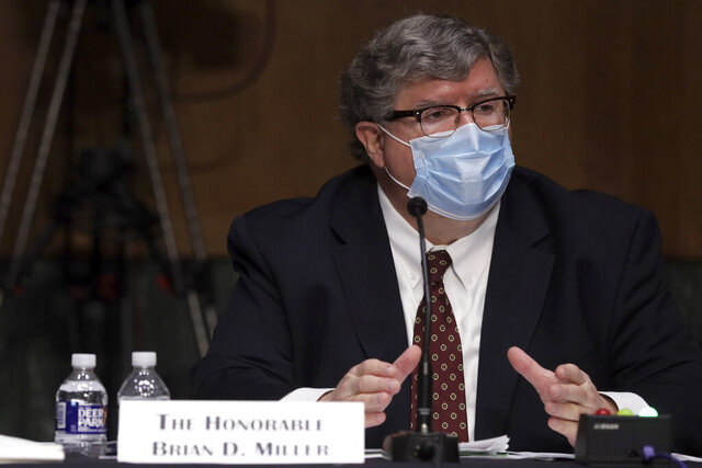 Brian Miller who is nominated to be Department of the Treasury Special Inspector General for Pandemic, testifies before a hearing of Senate Banking, Housing, and Urban Affairs Committee on Capitol Hill in Washington, Tuesday, May 5, 2020. (Alex Wong/Pool via AP)
