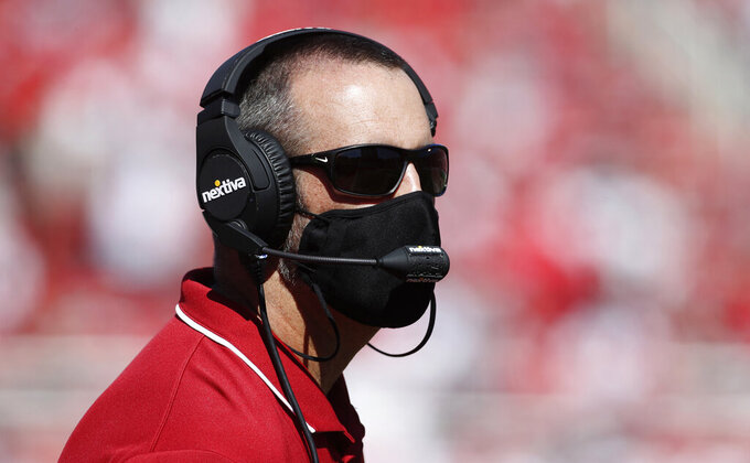 Washington State head coach Nick Rolovich watches his offense in the first half, of an NCAA college football game against Utah Saturday, Sept. 25, 2021, in Salt Lake City. (AP Photo/George Frey)
