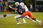 Boise State safety Tyreque Jones (21) breaks up a pass intended for Central Florida tight end Jake Hescock (88) during the second half of an NCAA college football game, early Friday, Sept. 3, 2021, in Orlando, Fla. (AP Photo/John Raoux)