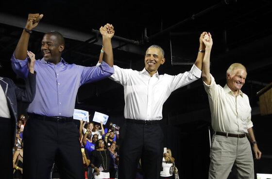 Barack Obama, Bill Nelson, Andrew Gillum