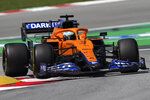 Mclaren driver Daniel Ricciardo of Australia takes a curve during the third free practice for the Spanish Formula One Grand Prix at the Barcelona Catalunya racetrack in Montmelo, just outside Barcelona, Spain, Saturday, May 8, 2021. The Spanish Grand Prix will be held on Sunday. (AP Photo/Emilio Morenatti)