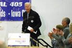 Democratic presidential candidate former Vice President Joe Biden arrives to speak at a fund-raising fish fry for U.S. Rep. Abby Finkenauer, D-Iowa, Saturday, Nov. 2, 2019, at Hawkeye Downs Expo Center in Cedar Rapids, Iowa. (AP Photo/Charlie Neibergall)