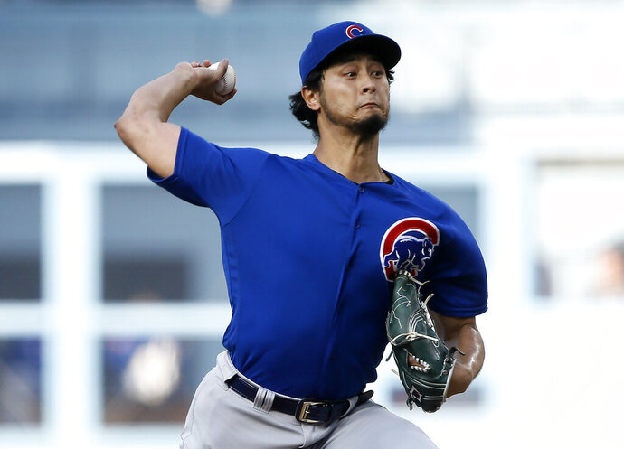 Chicago Cubs starting pitcher Yu Darvish throws to a Los Angeles Dodgers batter during the first inning of a baseball game in Los Angeles, Saturday, June 15, 2019. (AP Photo/Alex Gallardo)
