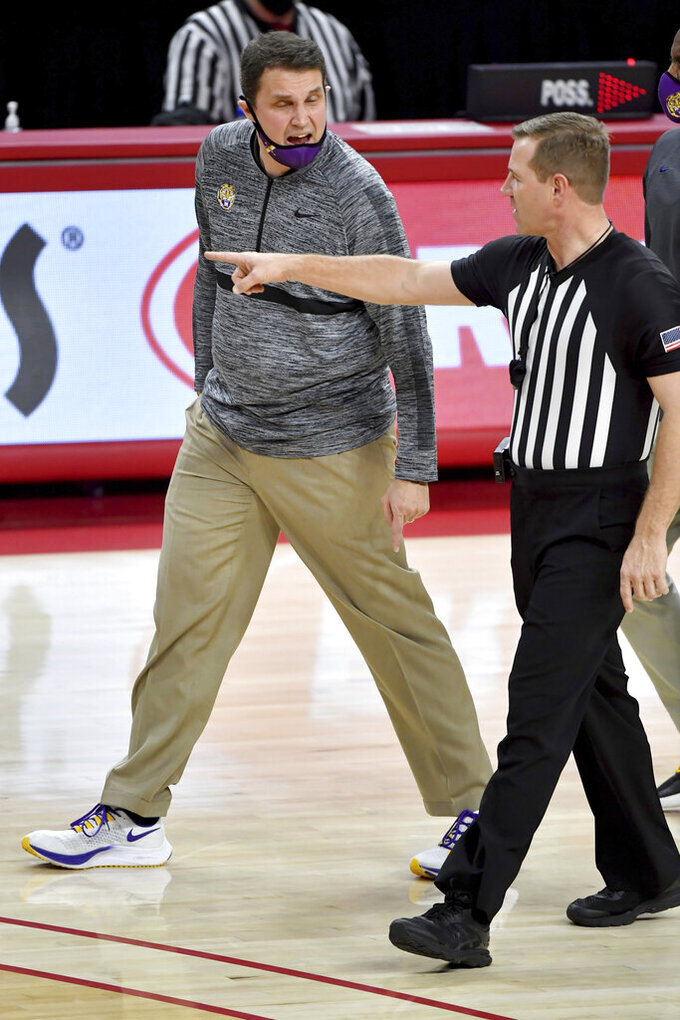 LSU coach Will Wade reacts to a call against Arkansas during the second half of an NCAA college basketball game in Fayetteville, Ark. Saturday, Feb. 27, 2021. (AP Photo/Michael Woods)