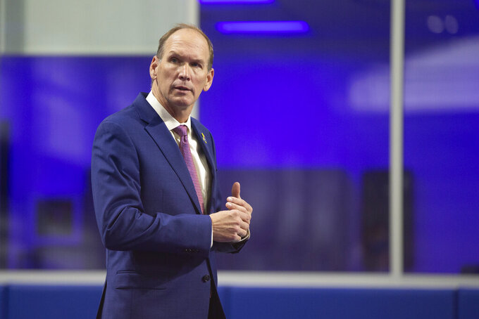 University of Kansas new NCAA college football head coach Lance Leipold is introduced to the media during a news conference in Lawrence, Kansas, Monday, May 3, 2021.  (Evert Nelson/The Topeka Capital-Journal via AP)