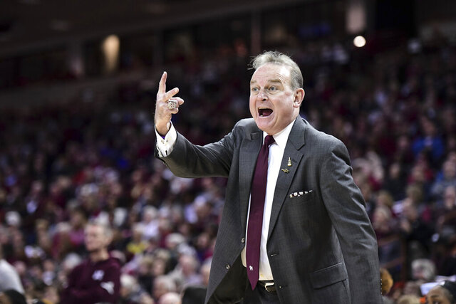 Mississippi State coach Vic Schaefer shouts at an official during the first half of an NCAA college basketball game against South Carolina Monday, Jan. 20, 2020, in Columbia, S.C. (AP Photo/Sean Rayford)