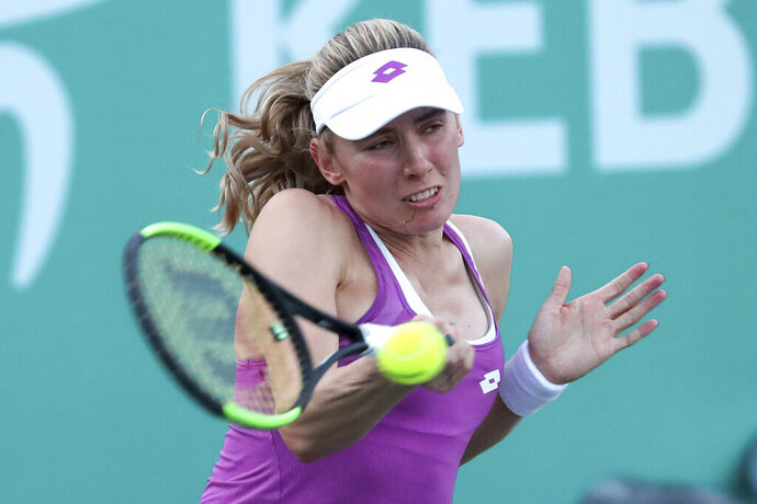 Ekaterina Alexandrova of Russia returns a shot to Kristyna Pliskova of the Czech Republic during their second round match of the Korea Open tennis championships in Seoul, South Korea, Wednesday, Sept. 18, 2019. (AP Photo/Ahn Young-joon)