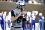 Vanderbilt quarterback Riley Neal (6) looks for a receiver in the first half of an NCAA college football game against Kentucky, Saturday, Nov. 16, 2019, in Nashville, Tenn. (AP Photo/Mark Humphrey)