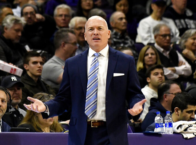 Penn State head coach Pat Chambers gestures to his team during the first half of an NCAA college basketball game against Northwestern Monday, Feb. 4, 2019, in Evanston, Ill. (AP Photo/David Banks)