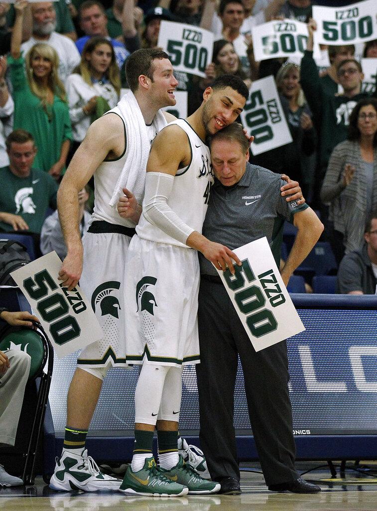 Tom Izzo, Denzel Valentine, Matt Costello. Michigan State ...
