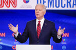 FILE - In this March 15, 2020, file photo, former Vice President Joe Biden, participates in a Democratic presidential primary debate at CNN Studios in Washington. Biden has won the presidential primary in Hawaii. The results were announced Saturday, May 23, 2020. The party-run primary was delayed by more than a month because of the coronavirus. (AP Photo/Evan Vucci, File)