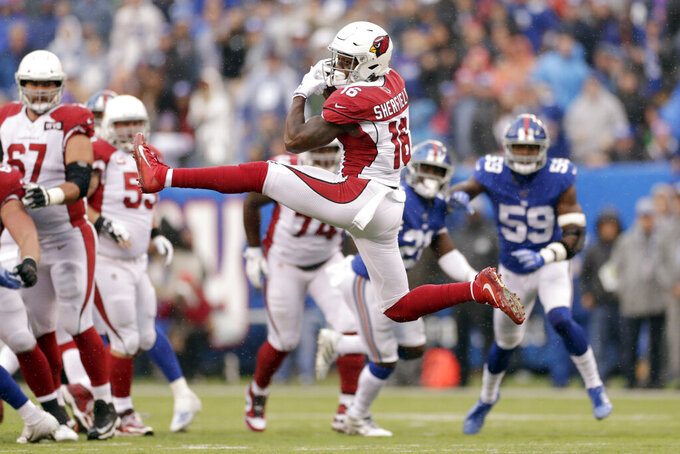 Arizona Cardinals' Trent Sherfield makes a catch during the first half of an NFL football game against the New York Giants, Sunday, Oct. 20, 2019, in East Rutherford, N.J. (AP Photo/Adam Hunger)