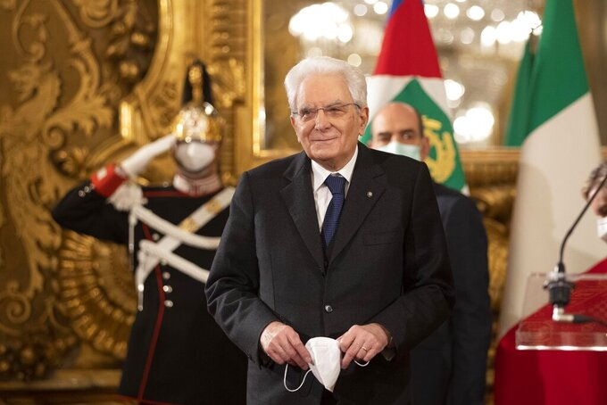 Italian President Sergio Mattarella leaves after talking to the media at the Quirinale presidential palace in Rome Friday, Jan. 29, 2021. Italian Premier Giuseppe Conte resigned after a key coalition ally pulled his party's support over Conte's handling of the coronavirus pandemic, setting the stage for consultations this week to determine if he can form a third government. (AP Photo/Alessandra Tarantino, Pool)