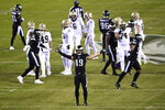 Philadelphia Eagles' Alex Singleton reacts after a missed field goal by the New Orleans Saints during the second half of an NFL football game, Sunday, Dec. 13, 2020, in Philadelphia. (AP Photo/Derik Hamilton)
