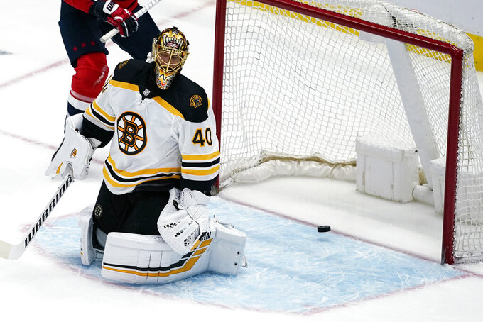 Boston Bruins goaltender Tuukka Rask (40) reacts after a goal by Washington Capitals defenseman Brenden Dillon during the second period of Game 1 of an NHL hockey Stanley Cup first-round playoff series Saturday, May 15, 2021, in Washington. (AP Photo/Alex Brandon)