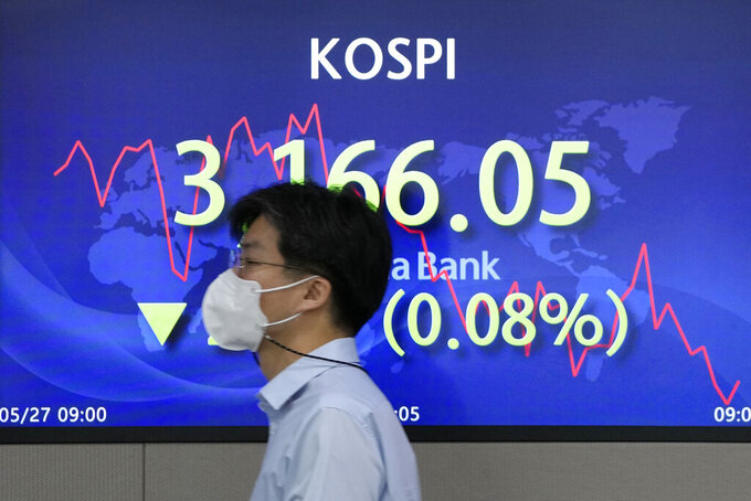 A currency trader walks by the screen showing the Korea Composite Stock Price Index (KOSPI) at the foreign exchange dealing room in Seoul, South Korea, Thursday, May 27, 2021. Asian shares fell Thursday, as investors watched for signs of inflation and awaited U.S. economic data expected later in the day. (AP Photo/Lee Jin-man)