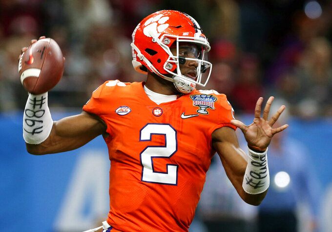 FILE - In this Jan. 1, 2018, file photo, Clemson quarterback Kelly Bryant (2) passes in the first half of the Sugar Bowl NCAA college football bowl game against Alabama, in New Orleans. By the end of last season, Missouri fans were enjoying quarterback Drew Lock's final days running the Tigers' offense while wondering who would take over in his spot the following season. The answer came on Dec. 4, when Kelly Bryant announced in a video he was transferring to Missouri.  (AP Photo/Rusty Costanza, File)