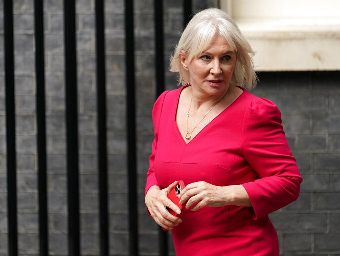 """British MP Nadine Dorries arrives at 10 Downing Street, in London, Wednesday, Sept. 15, 2021. British Prime Minister Boris Johnson is shaking up his Cabinet as he attempts to move on from a series of political missteps and U-turns. Johnson's office said he would appoint """"a strong and united team to build back better from the pandemic."""" (AP Photo/Alberto Pezzali)"""