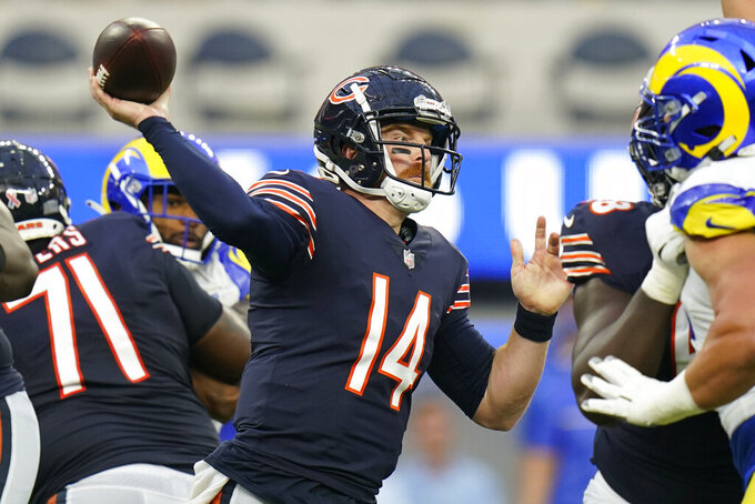 Chicago Bears quarterback Andy Dalton throws a pass during the first half of an NFL football game against the Los Angeles Rams, Sunday, Sept. 12, 2021, in Inglewood, Calif. (AP Photo/Jae C. Hong)