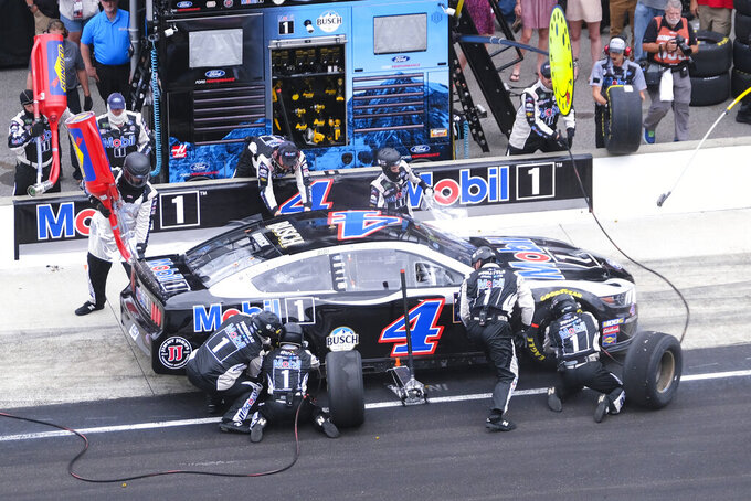 NASCAR driver Kevin Harvick pits during the NASCAR Brickyard 400 auto race at Indianapolis Motor Speedway, Sunday, Sept. 8, 2019, in Indianapolis. (AP Photo/AJ Mast)
