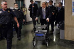 Harvey Weinstein arrives at court in his rape trial, in New York, Thursday, Feb. 13, 2020. (AP Photo/Richard Drew)