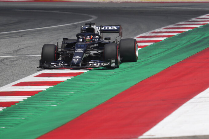 Alpha Tauri driver Pierre Gasly of France steers his car during the first practice at the Red Bull Ring racetrack in Spielberg, Austria, Friday, June 25, 2021. The Styrian Formula One Grand Prix will be held on Sunday, June 27, 2021. (AP Photo/Darko Vojinovic)