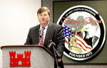 Mississippi Gov. Tate Reeves speaks during a press conference Monday, Jan. 11, 2021, organized by the Environmental Protection Agency at the U.S. Army Corps of Engineers Vicksburg District facility in Vicksburg, Miss. (Tim Reeves/The Vicksburg Post via AP)