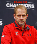 In this Feb. 7, 2018, photo, Texas Tech defensive coordinator David Gibbs talks about the football signees during a news conference in Lubbock, Texas. Gibbs is going into his fourth season as defensive coordinator, making him the first in two decades to stay in the job that long at Texas Tech. (Brad Tollefson/Lubbock Avalanche-Journal via AP)
