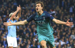 Tottenham Hotspur forward Fernando Llorente celebrates his side's third goal during the Champions League quarterfinal, second leg, soccer match between Manchester City and Tottenham Hotspur at the Etihad Stadium in Manchester, England, Wednesday, April 17, 2019. (AP Photo/Jon Super)