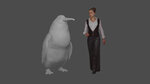 This illustration provided by the Canterbury Museum, shows the approximate height of a giant penguin, a