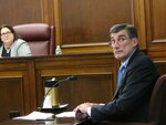 Gary Carano, chairman and CEO of Eldorado Resorts, testifies Wednesday, Sept. 12, 2018, before the New Jersey Casino Control Commission in Atlantic City, N.J. about the company's plans for the Tropicana casino in Atlantic City, which it is in the process of buying. (AP Photo/Wayne Parry)