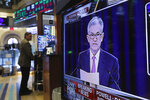 The Washington news conference of Federal Reserve Chair Jerome Powell appears on television screen on the trading floor of the New York Stock Exchange shows the rate decision of the Federal Reserve, Wednesday, June 19, 2019. (AP Photo/Richard Drew)